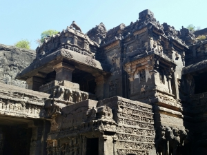 Constructed 600-1000 CE. Basalt. Over 100 caves total. Buddhist, Hindu and Jain constructions side-by-side.